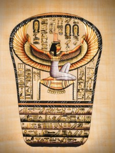 "Egyptian papyrus showing Isis, called as ""Mather of gods"""